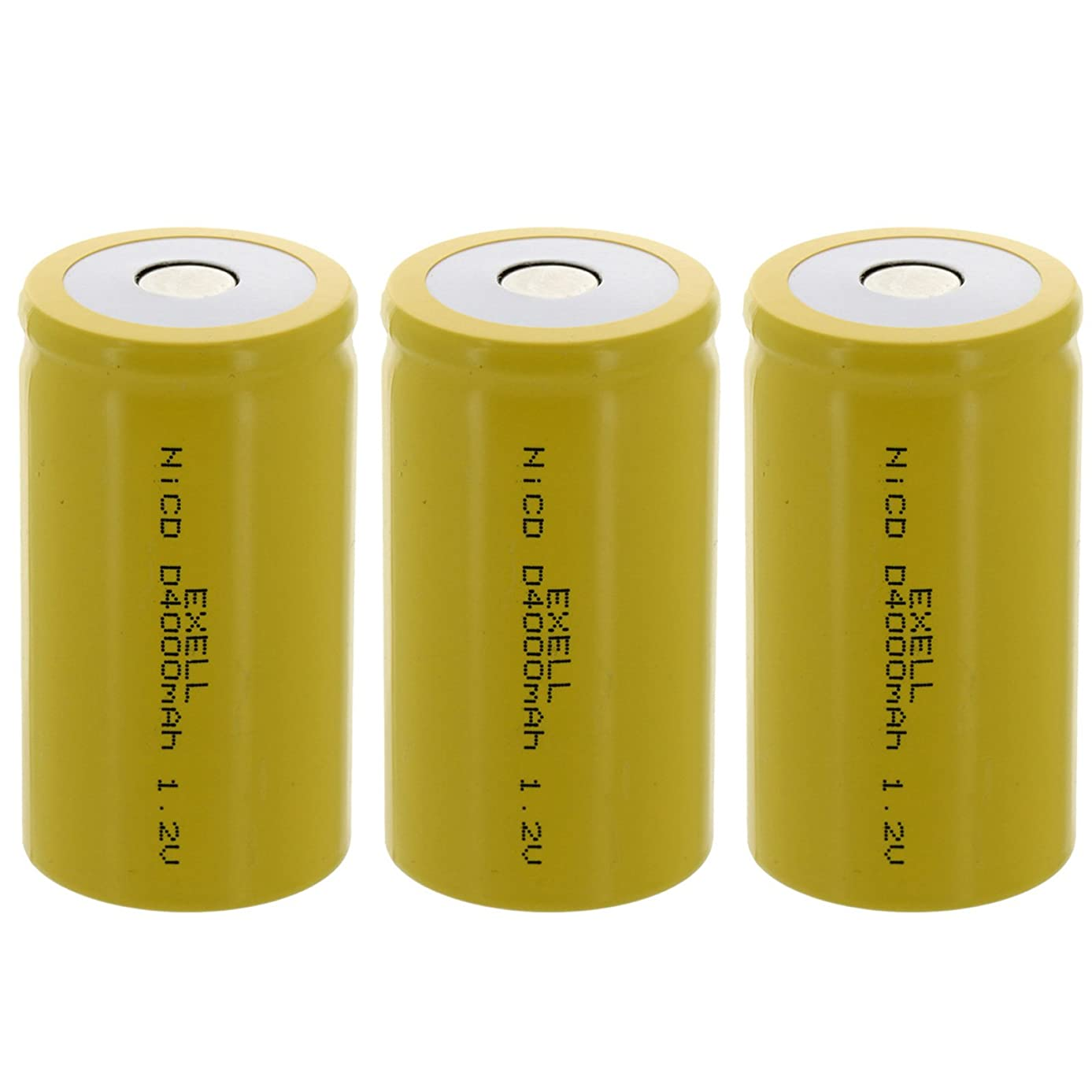 3x Exell D Size 1.2V 4000mAh NiCD Flat Top Rechargeable Batteries for high power static applications (Telecoms, UPS and Smart grid), electric mopeds, meters, radios, RC devices, electric tools