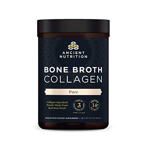 Bone Broth Collagen Powder Pure, Formulated by Dr. Josh Axe, Food-Sourced Hydrolyzed Multi Collagen Supplement, Supports Joints, Skin and Nails, Non GMO Made Without Gluten & Dairy, 15.9oz