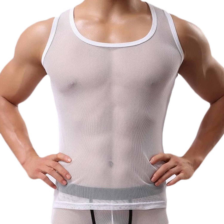 (ビグッド) Bigood メンズ シースルー タンクトップ トップス 男性 無地 スポーツ 袖なしTシャツ カジュアル フィットネス