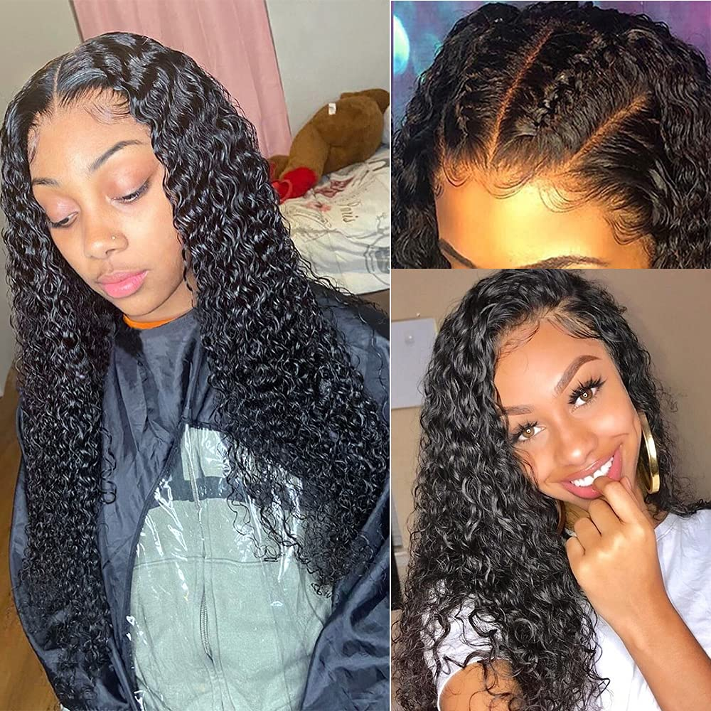 10A Human Hair brazilian Large special price virgin Max 63% OFF hair Wig Front an Curly Wet Lace