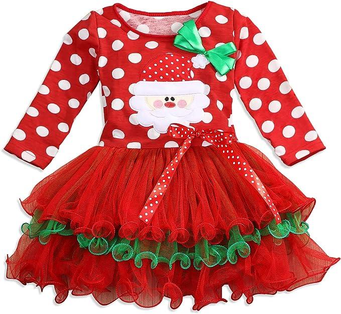 Toddler Baby Kids Girls Christmas Santa Print Bow Princess Dresses Clothes Fashion Autumn Winter Long Sleeve Snow Scene Dress squarex 0-4 Years Girls Dress