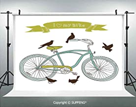 Photo Backdrop I Love My Bike Concept with Birds on The Seat Cruisers Basic Vehicle Simplistic Art 3D Backdrops for Interior Decoration Photo Studio Props
