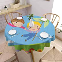 HouseLookHome Pinwheel Picnic Tablecloth Little Boy and Girl Flying Fantasy Fairy Friendship Joyful Childhood Games Cartoon Fabric Tablecloth 47 Inch Round Multicolor