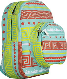 Mini Backpack - Greek Key Pattern - Green with Red