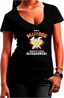 TooLoud Plumber - Superpower Juniors Petite V-Neck Dark T-Shirt