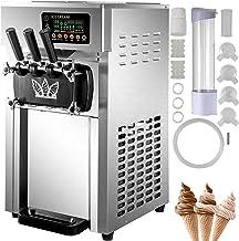 VEVOR Machine à Crème Glacée 1200 W Sorbetière Électrique Professionnelle Commerciale 18 L/h 2 Saveurs Uniques 1 Saveur Mi...