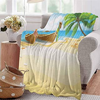 SONGDAYONE Travel Blanket Beach Easy to Carry Paradise Island Coconut Tree and Boats Tropical Coastline Relaxation Environment W51 x L60 Multicolor