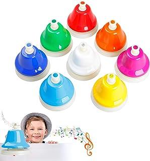 Desk Bells Hand Bells for Kids,8 Notes Diatonic Colorful Met