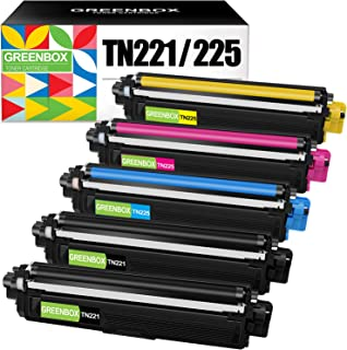 GREENBOX Compatible Toner Cartridge Replacement for Brother TN221 TN225 TN-221 TN-225 for Brother MFC-9130CW HL-3170CDW HL-3140CW MFC-9330CDW Printer (2 Black 1 Cyan 1 Yellow 1 Magenta)