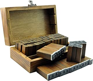 UCEC 70個 アンティークなイニシャル&数字スタンプ 英語 木箱入り 活字タイプ DIY クラフトカード スクラップブッキング 手帳用