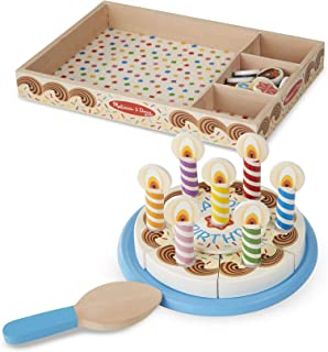 Melissa & Doug Birthday Party Cake (Wooden Play Food, Mix-n-Match Toppings and 7 Candles, Sturdy Construction, 34 Pieces, Great Gift for Girls and Boys - Best for 3, 4, 5, and 6 Year Olds)