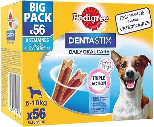 Pedigree Dentastix - Friandises pour petit chien, 56 bâtonnets à mâcher pour l'hygiène bucco-dentaire (8 sachets de 7...