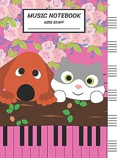 Music Notebook Wide Staff: Blank Music Sheet Notebook,Staff