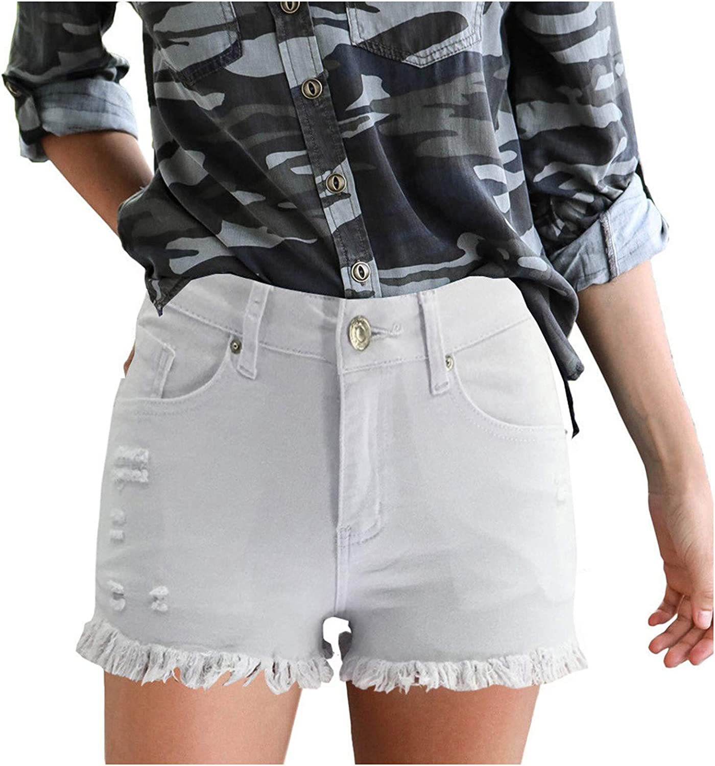 JPVDPA Women's High Waisted Ripped Short Jeans Casual Denim Shorts Soft and Stretchy Shorts with Pockets