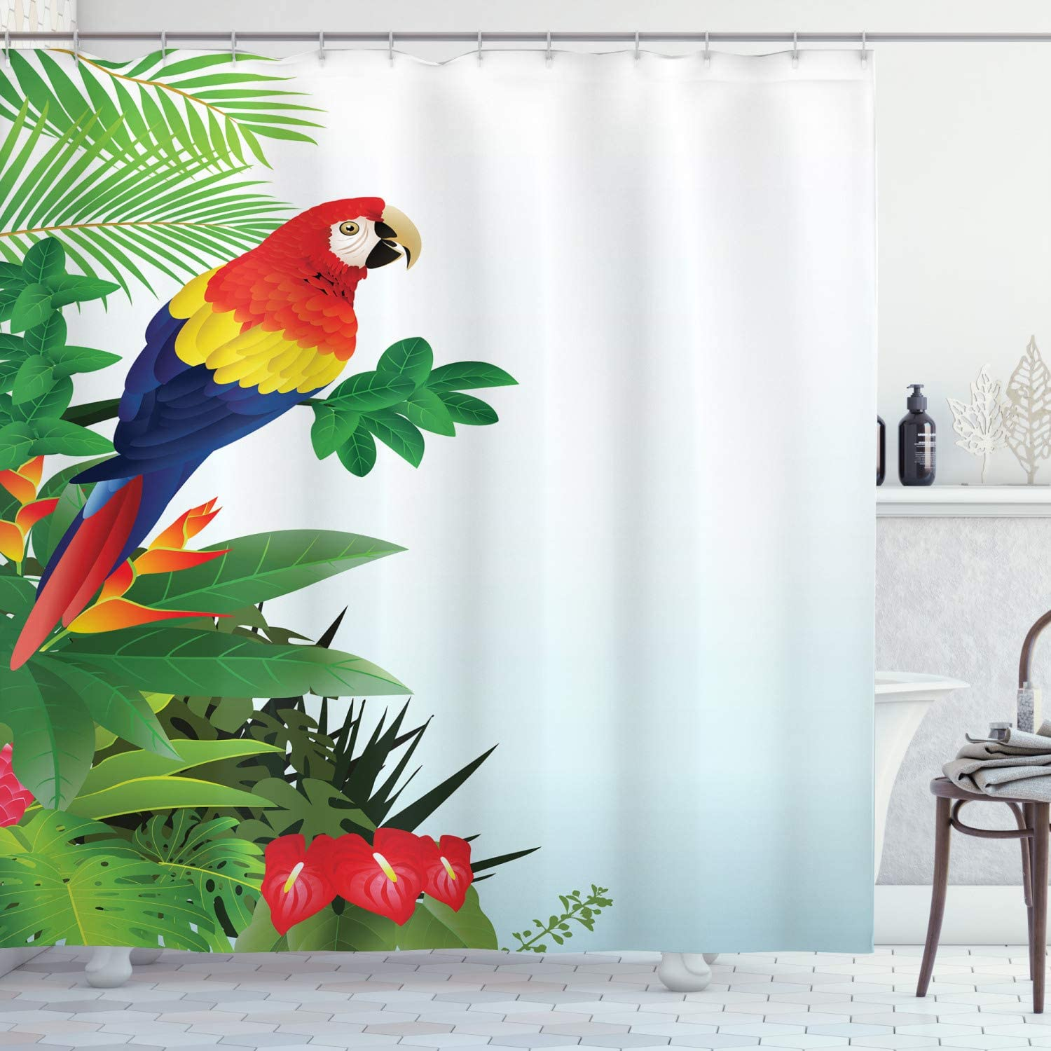 Ranking TOP6 Ambesonne mart Parrots Shower Curtain Macaw in Forest Bird Tropical