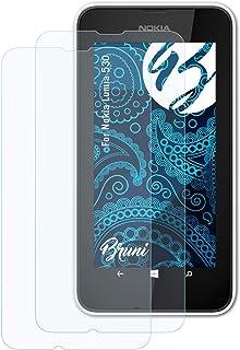 Bruni Skärmskydd är kompatibel med Nokia Lumia 530 Film, kristallklart Skyddsfilm (2X)
