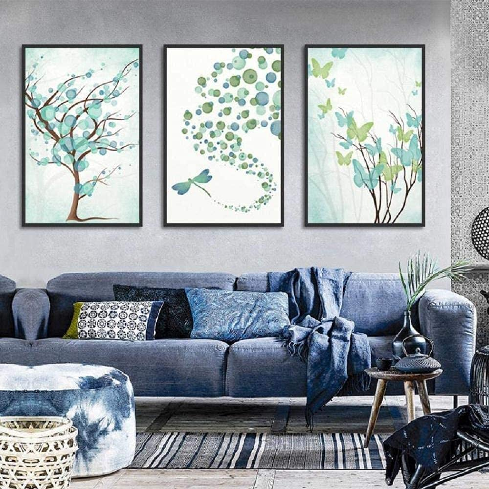 aksldf Abstract Max 62% OFF Blue Butterfly Dragonfly Ranking TOP8 Trees Art P Canvas Wall