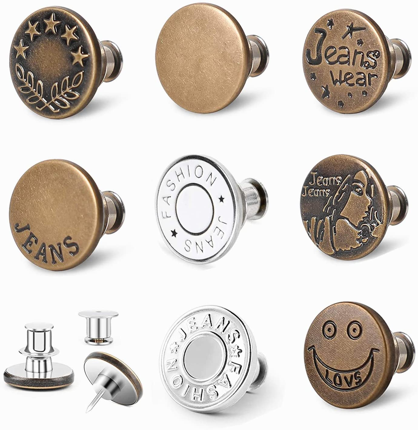 Lifetop 8 Sets Button Pins for Online limited product and Tools No Jeans Sew Sale SALE% OFF Instan