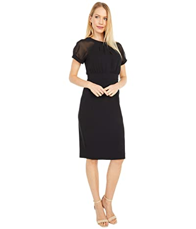 Vince Camuto Crepe Bodycon with Short Sleeve Chiffon Bodice (Black) Women