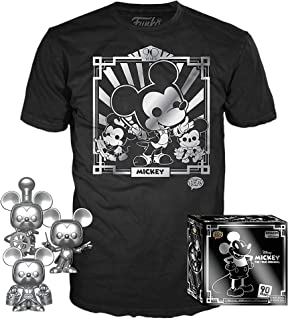 Funko Pop! 3 Pack & Tee: Disney ? Mickey 90th T-Shirt y Silver Steamboat Willie, Conductor y Aprendizaje, Amazon Exclusivo, Talla XL