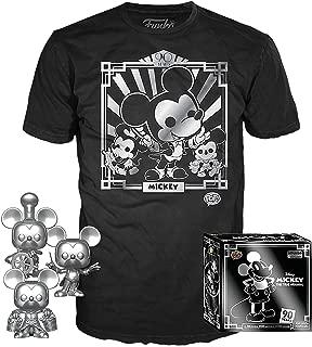 Funko Pop. 3 Pack & Tee: Disney – Camiseta 90 de Mickey & Silver Steamboat Willie, conductor y aprendiz, Amazon Exclusive, XS