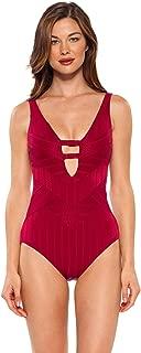 Women's Textured Adjustable Strap Plunge One Piece Swimsuit