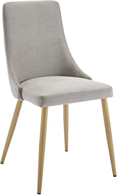 Nspire Set of 2 Mid-Century Velvet & Metal Side Chair in Grey