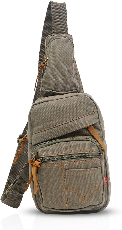 FANDARE Vintage Sling Bag Chest Bag Shoulder Backpack Cross Body Bag Travel Bag Men Women Canvas Army Green