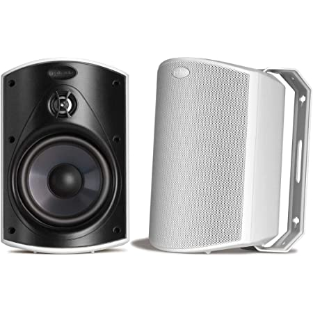 Polk Audio Atrium 6 Outdoor All-Weather Speakers with Bass Reflex Enclosure | Broad Sound Coverage Speed-Lock Mounting System and $20  Gift Card Pair, White