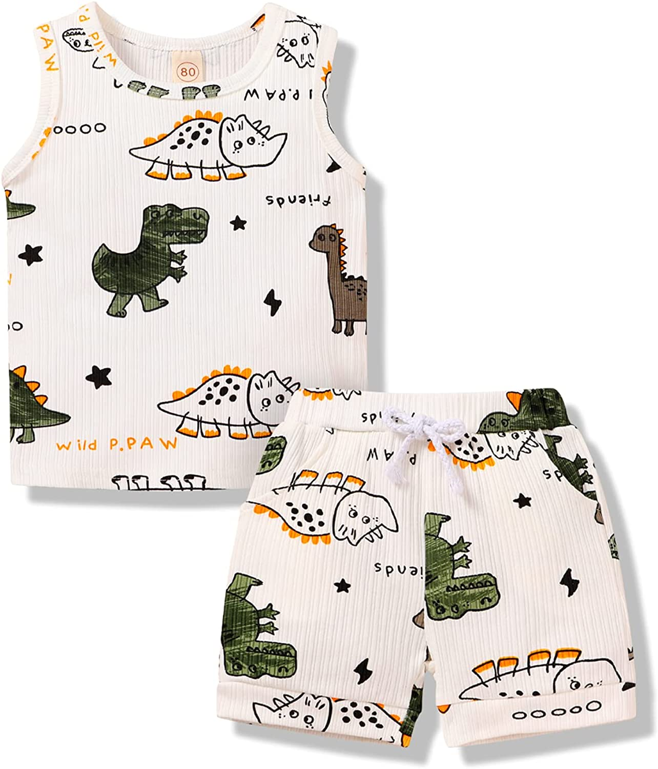 JEELLIGULAR Baby Girls Boys Clothes Outfits Summer Mama's Mini Tank Top Infant Toddler Leopard Shorts Set