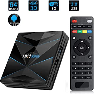 HK1 Super Smart TV Box Android 9.0 RK3318 Quad Core Android TV Box 2.4G/5G Dual WiFi USB3.0 BT4.0 4K H.265 UHD Android Med...