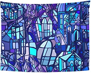 Remain Unique Tapestry Blue Geometric with Abstract Fantasy Night Gothic City Stained Glass Colorful Wall Hang Decor Indoor House Made in Soft