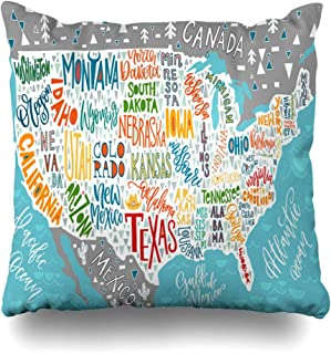 DIYCow Throw Pillows Covers Travel USA Map States Guide Pictorial Geographical State Cushion Case Pillowcase Home Sofa Couch Square Size 18 x 18 Inches Pillowslips