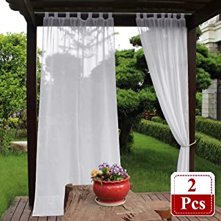 NICETOWN Outdoor Linen Look Curtains - Water Resistant Semi Sheer Curtains with Rope Tiebacks, Durable Linen Look Outdoor Curtains with Tab Top for Porch (2 Pieces, 54 x 96 Inch, White)