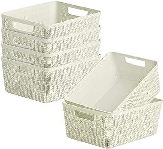 Dveda Lot de 6 paniers de rangement en plastique épais pour salle de bain, cuisine, bureau – 235 mm x 185 mm x 103 mm Beige