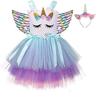 Birthday Unicorn Tutu Dress for Girls Halloween Rainbow Sweet Costume with Headband and Wings