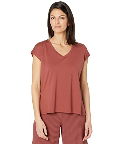 Eileen Fisher Fine Jersey V-Neck Boxy Neck Top (Deep Terracotta) Women