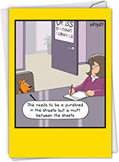 Dog Dating Service: Funny Birthday Card Featuring a Puppy Out in Search of Love, with Envelope. C2658BDG