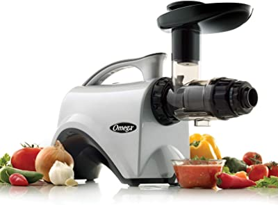 Omega Juicer NC800HDS Juice Extractor and Nutrition Center Creates Fruit Vegetable and Wheatgrass Juice Quiet Motor Slow Masticating Dual-Stage Extraction, 150-Watt, Silver (Renewed)