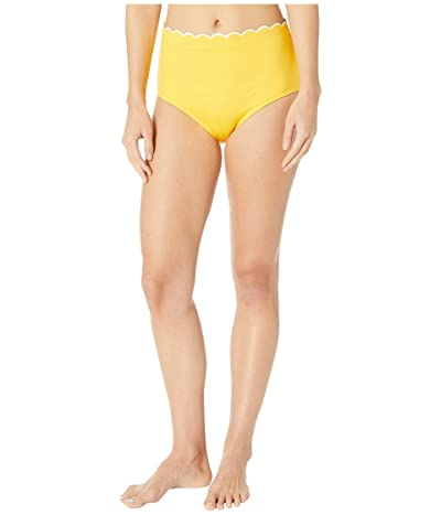 Kate Spade New York Fort Tilden Contrast Scalloped High-Waisted Bikini Bottoms (Limone) Women