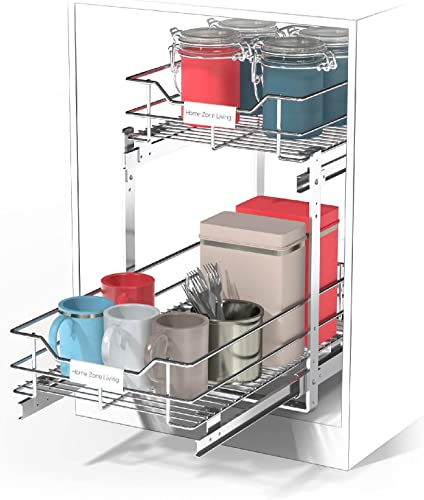 """wholesale Home Zone Living discount Pull Out Drawer Cabinet discount Organizer – 2-Tier Slide Out Shelves for Optimal Kitchen Storage, 11"""" W x 20"""" D outlet online sale"""