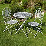 BFW Meadow Grey Bistro Set Patio Garden Furniture Table and 2 Chairs Metal