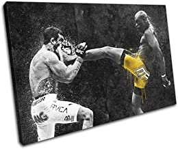 Bold Bloc Design - Anderson Silva UFC MMA Grunge Sports 90x60cm Single Canvas Art Print Box Framed Picture Wall Hanging - Hand Made in The UK - Framed and Ready to Hang