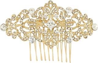 EVER FAITH Art Deco Wave Bridal Hair Side Comb Clear Austrian Crystal