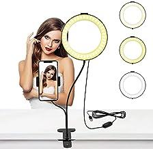 Selfie Ring Light 6 Inch Ring Light with Cell Phone Holder Stand for Live Stream/Makeup, LED Camera Lighting [3-Light Mod...