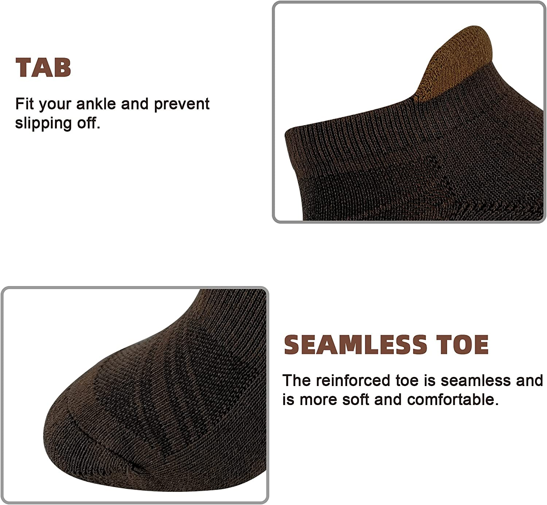 HaloYIYI Mens Ankle Athletic Moisture Wicking Cushion Low Cut Tab Socks,4 Pairs