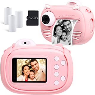 MINIBEAR Instant Print Camera for Kids with Print Paper, 40MP Zero Ink Digital Camera, 1080P Selfie Video Camera, Children...