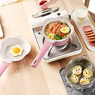 MANO 4-Piece Ceramic Cookware Set Pots and Pans Set Nonstick Dishwasher Safe Mini Saucepan Frying pan Steamer Insert Milk Pot Egg pan for Baby Kids Food Cooking,Pink
