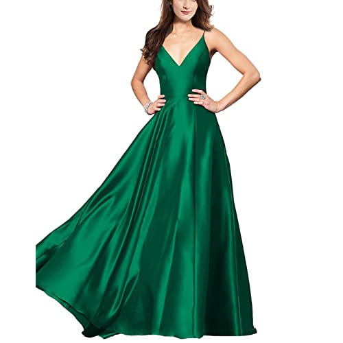 3d937c8098 Lily Wedding Womens V-Neck Satin Prom Dresses 2019 Long Aline Sleeveless Formal  Evening Ball