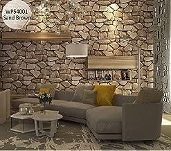 Store2508 3D Effect Textured Retro Stone Pattern Wallpaper (0.53 * 10m, Appx. 57 Sq Feet) (Sand Brown 54001)